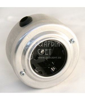 Ретро розетка алюминиевая черная