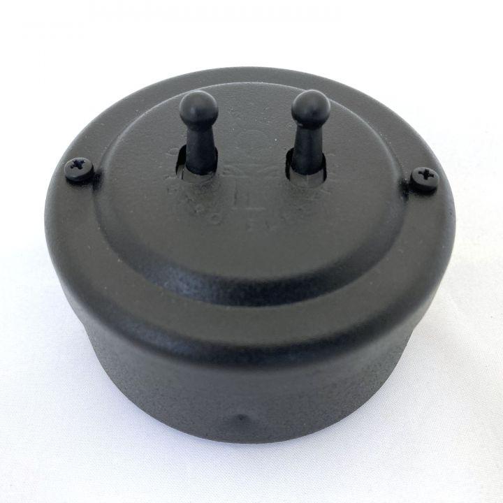Переключатель на два тумблера стальной окрашенный черный