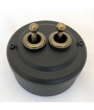 Выключатель рычажковый двухклавишный стальной окрашенный черный