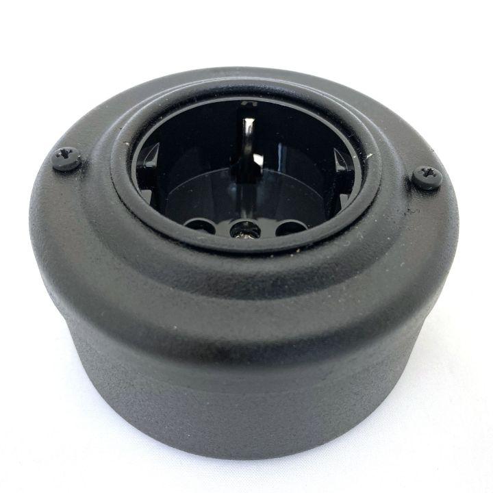 Ретро розетка стальная окрашенная черная
