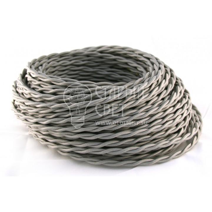 Ретро провод витой 2х1,5мм²  серый