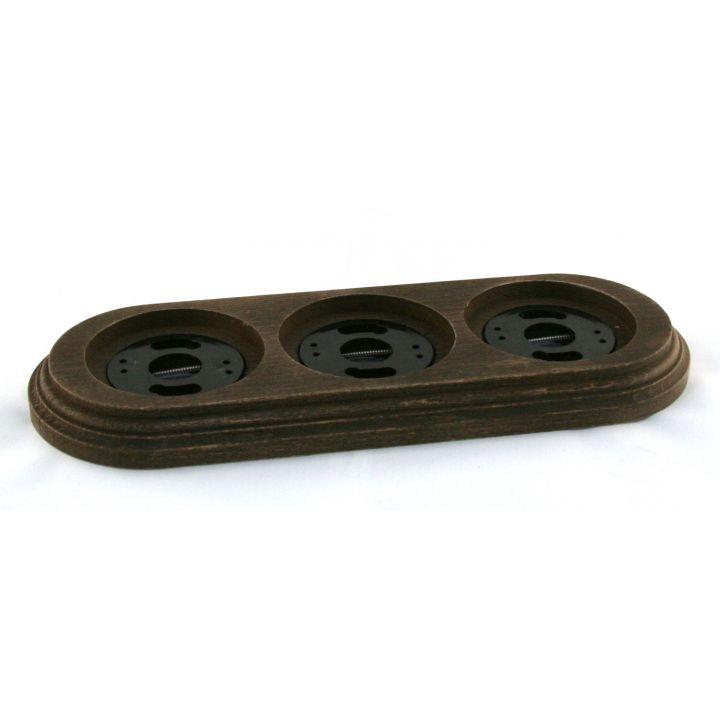 """Рамка деревянная на 3 места """"Старое дерево"""" Материал - бук"""