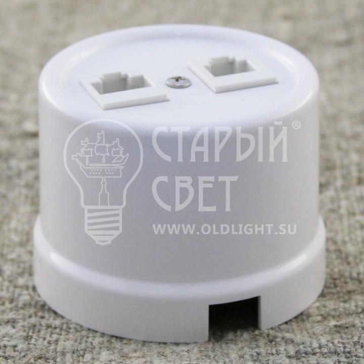 """Розетка RJ11+RJ45 пластиковая белая """"Bironi"""""""