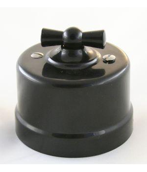 """Выключатель двухклавишный, черный пластиковый """"Bironi"""""""