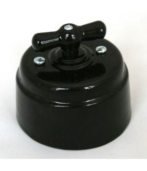Выключатель (1кл. / 2кл. / проходной) фарфоровый черный Старый Свет