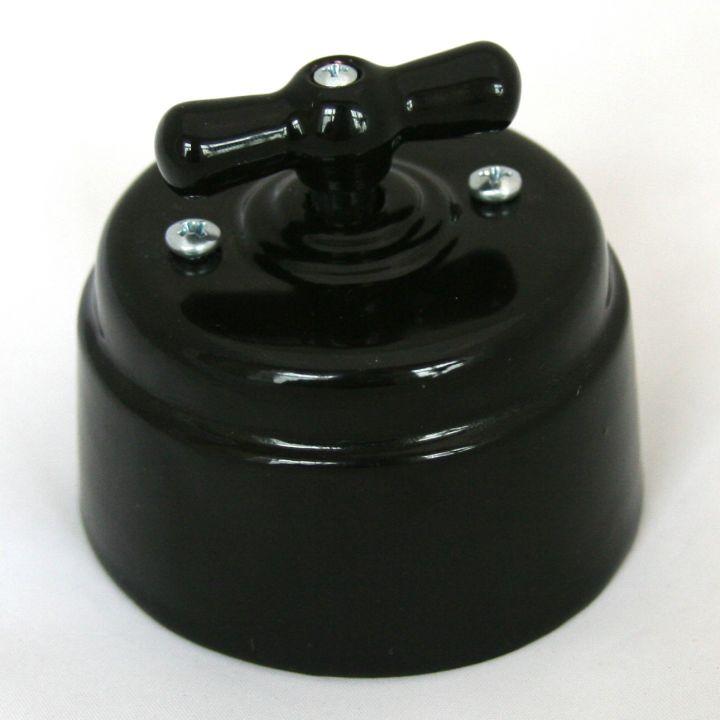 Выключатель фарфоровый черный
