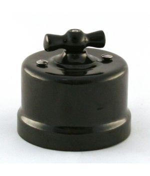 """Выключатель двухклавишный фарфоровый черный """"Bironi"""""""
