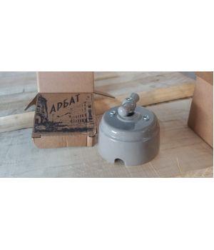 Выключатель (1кл. / 2кл. / проходной) фарфоровый серый Старый Свет