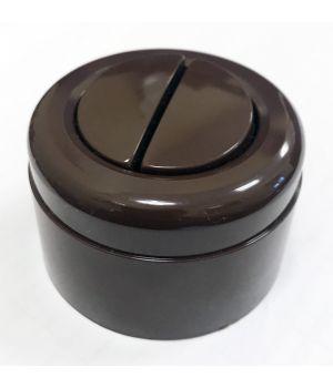 Выключатель двухклавишный, коричневый пластиковый Vintage