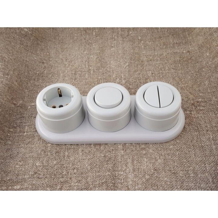 Выключатель двухклавишный, серый пластиковый Vintage