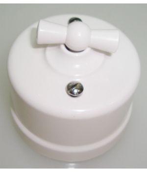 """Выключатель одноклавишный, белый пластиковый """"Bironi"""""""