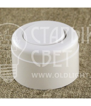 Выключатель одноклавишный пластиковый Vintage белый.