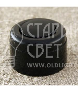 Ретро выключатель одноклавишный, черный пластиковый Vintage