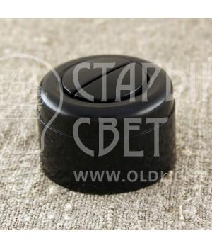 Выключатель двухклавишный, черный пластиковый Vintage